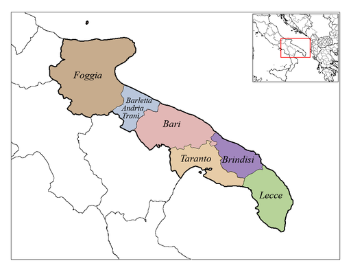 Map showing Italy's Heel of the boot and Province Location