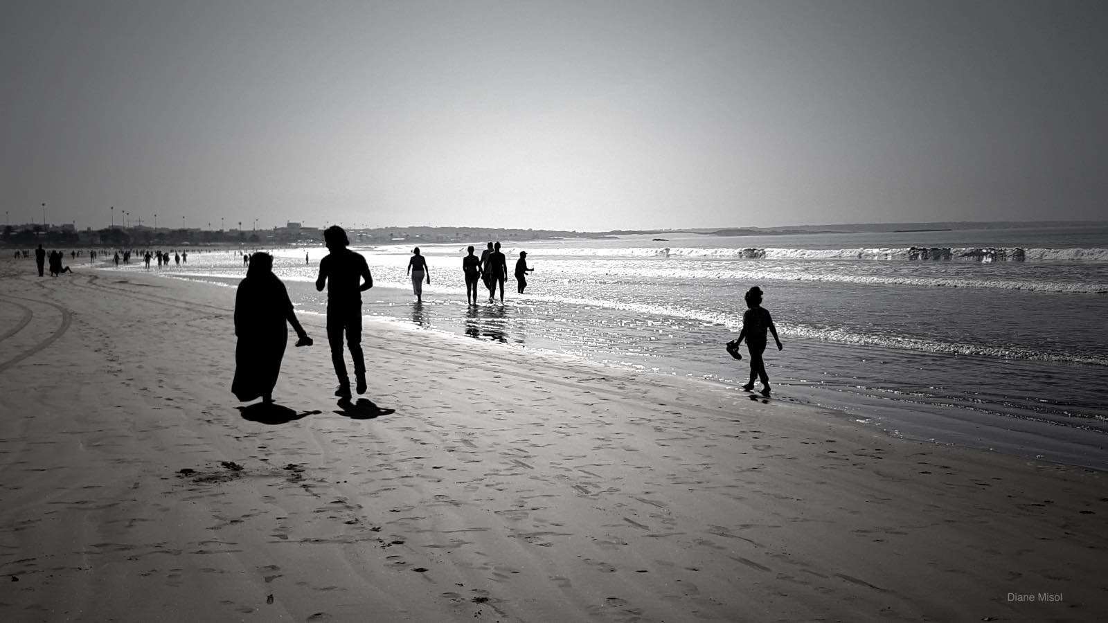 Black and white take of Agadir Beach, Morocco