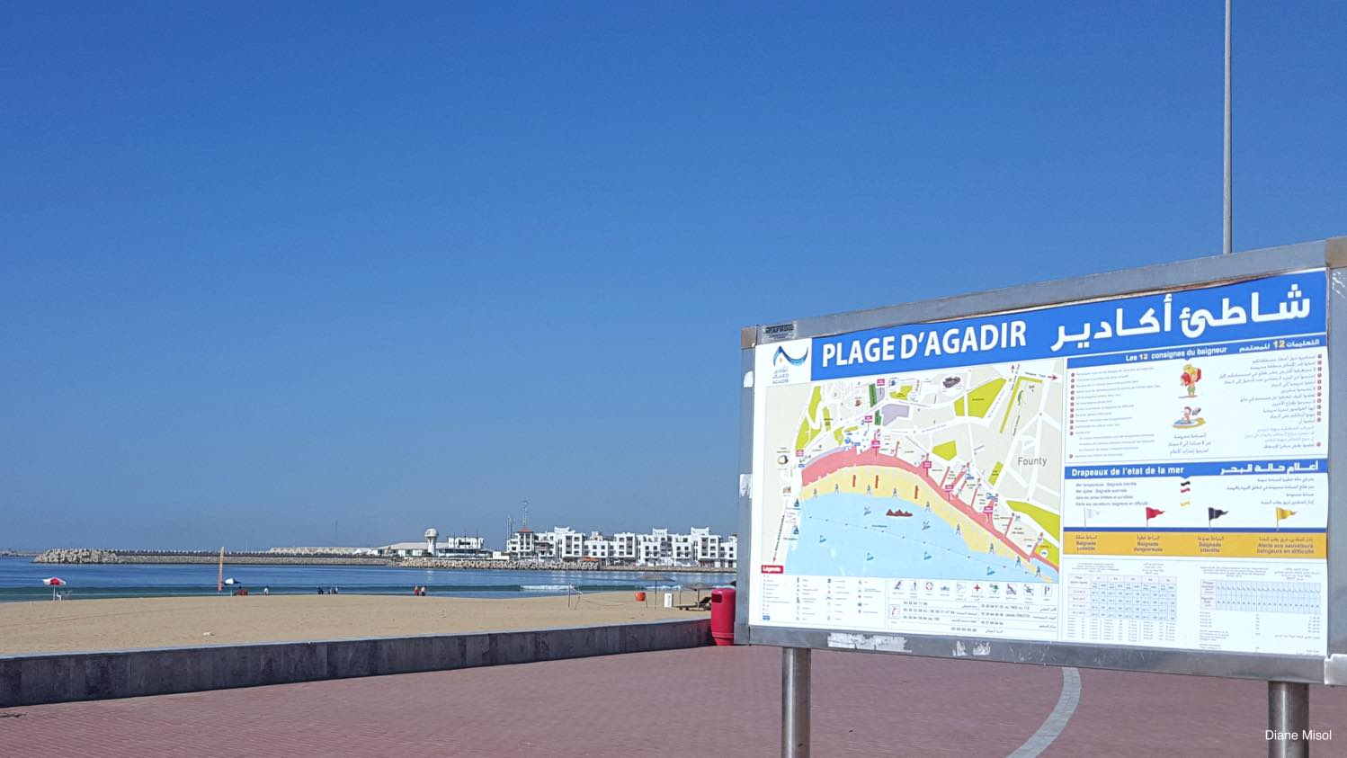 Beach Sign directory, Agadir, Morocco