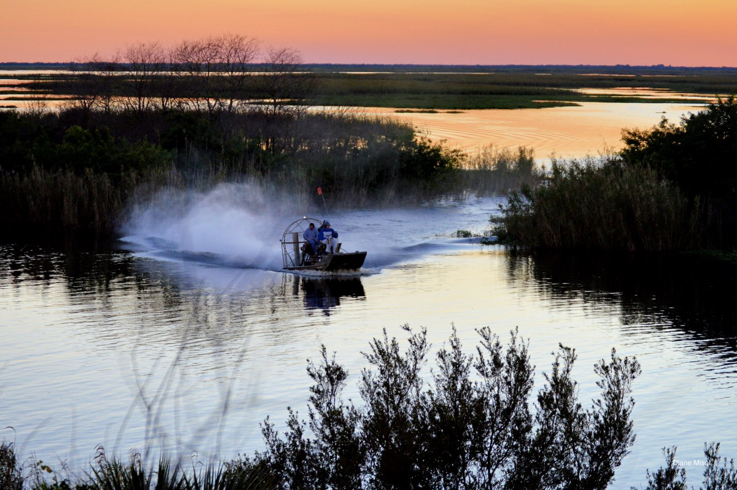 Airboat Cruising Lake Okeechobee at sunset