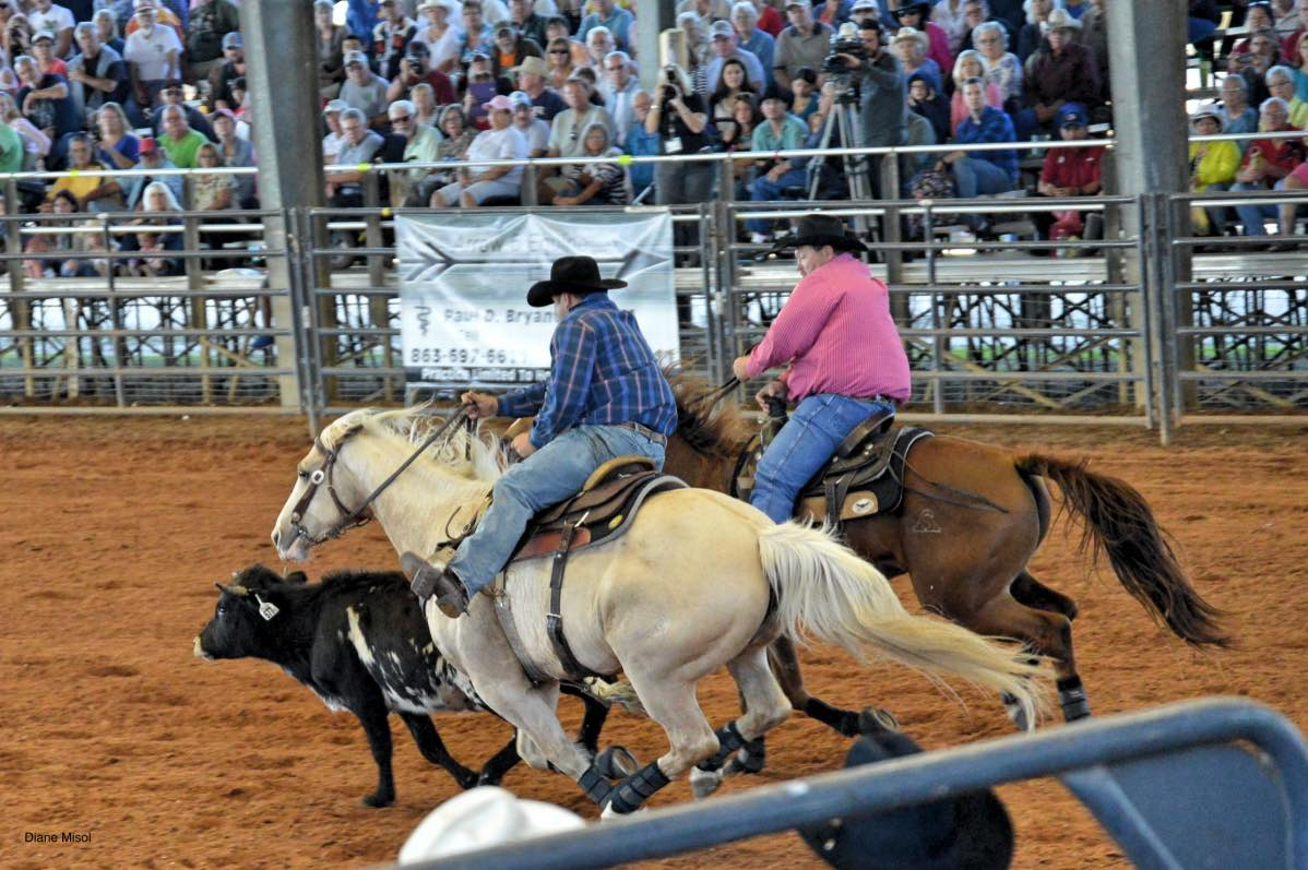 Riders participating in Team Roping