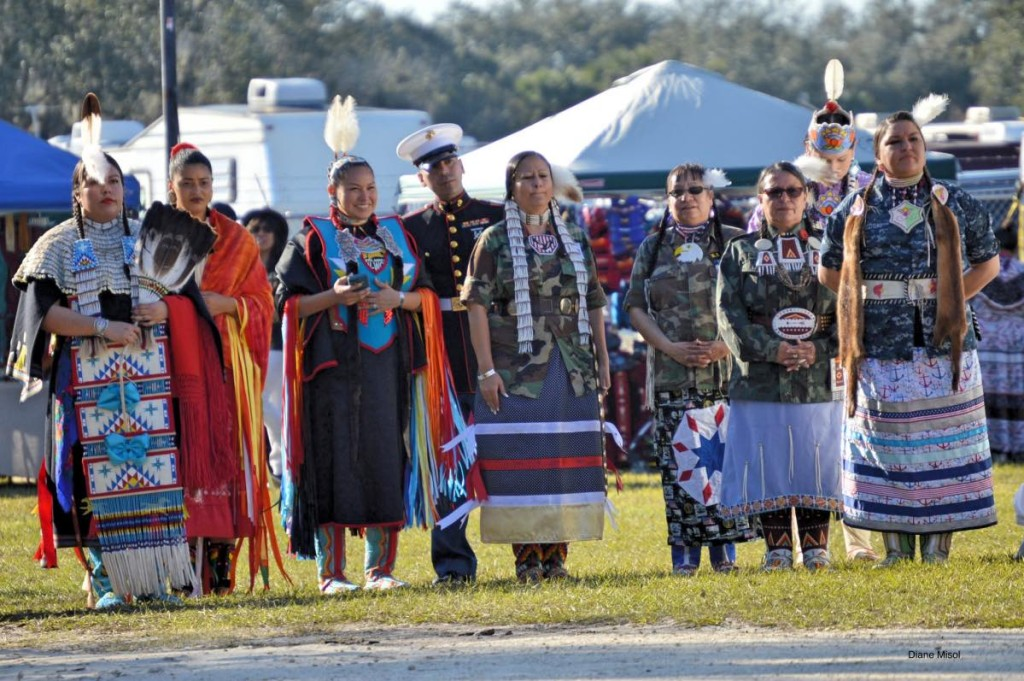 Native American Women in Traditional Dress with Marine