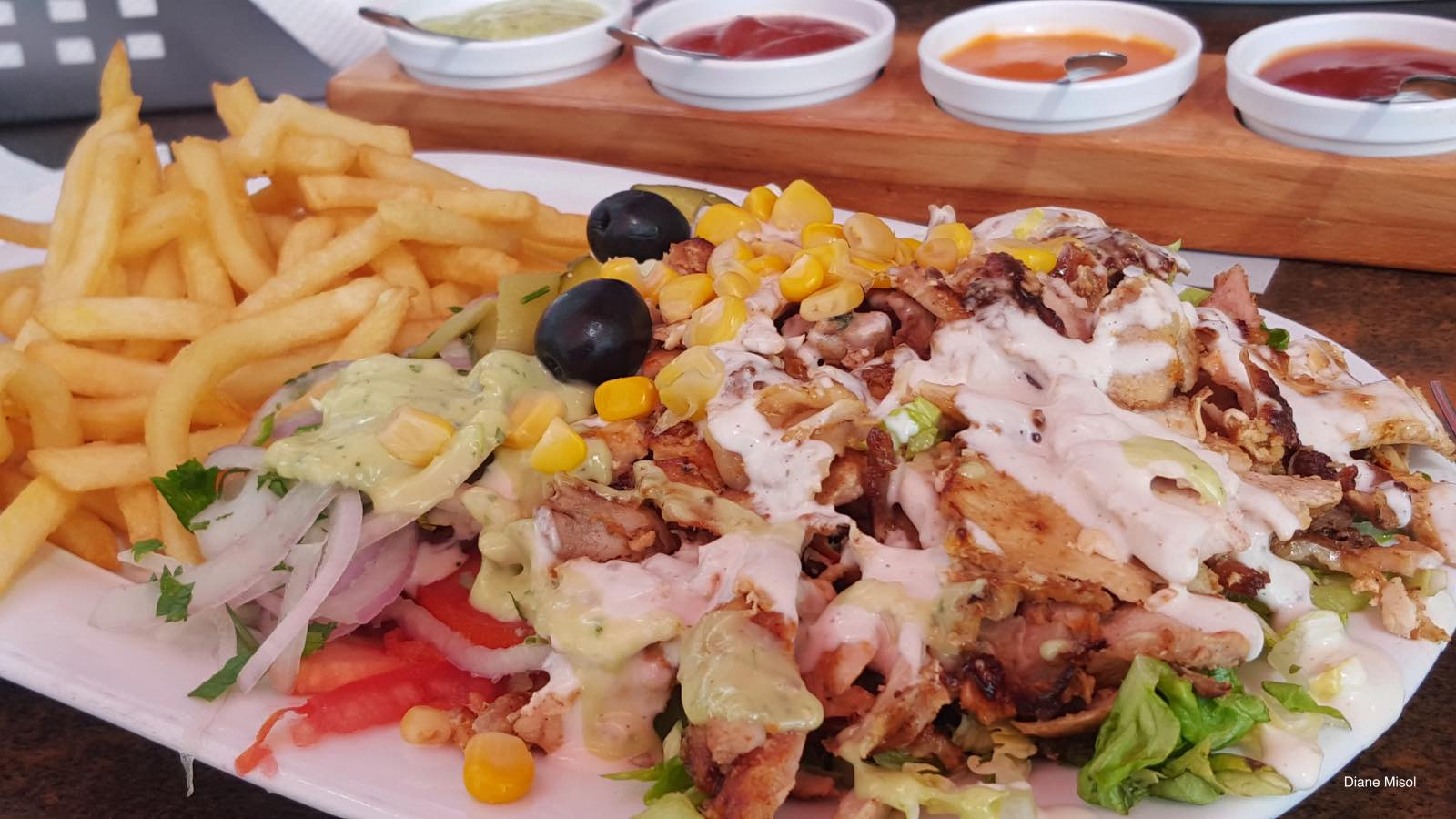 Delicious Shawarma Meal with sauces. Agadir, Morocco