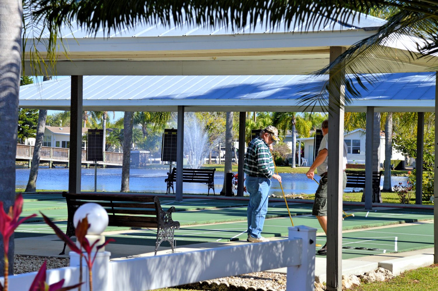Playing Shuffleboard, RV Resort, Lake Okeechobee