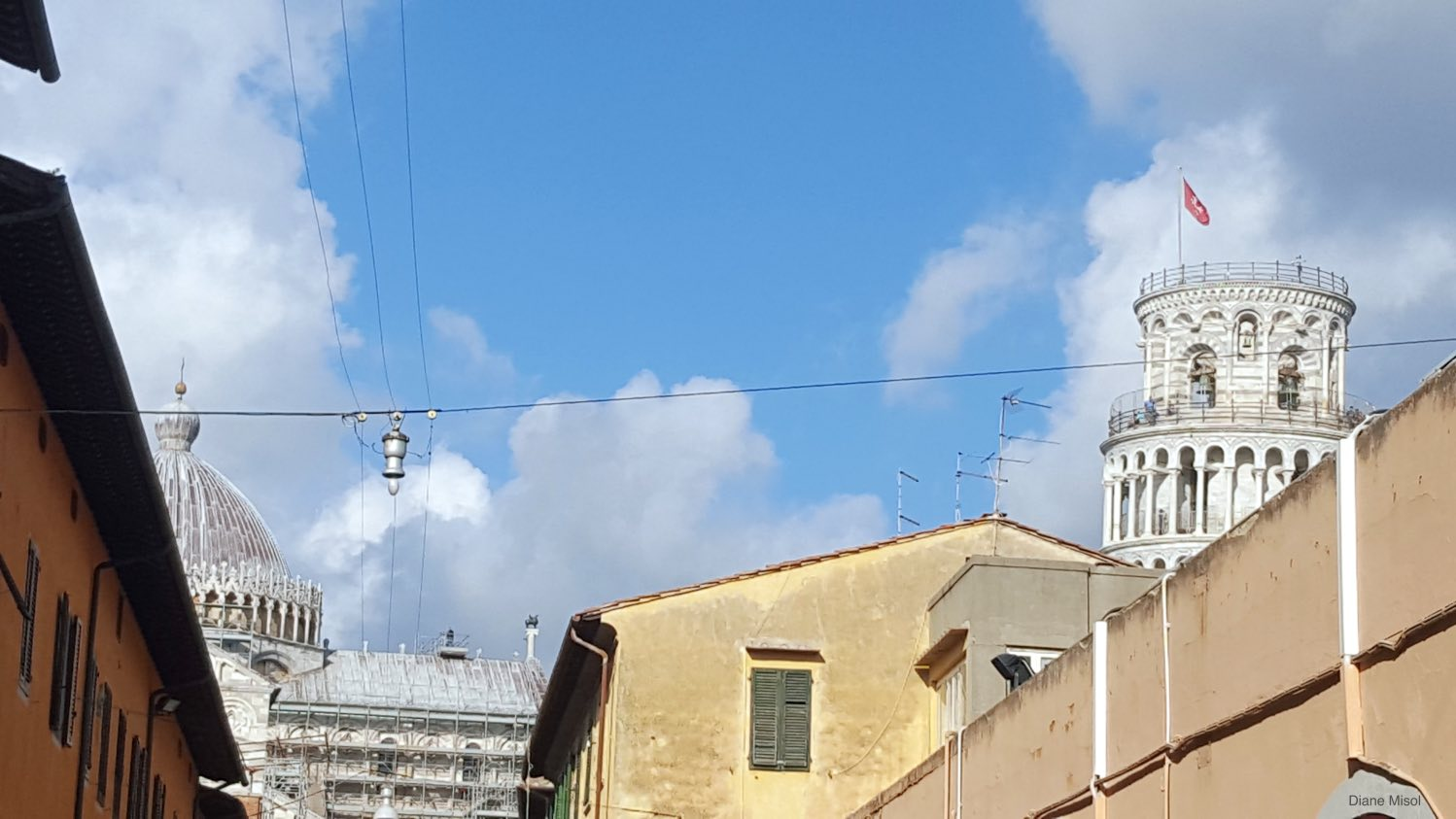 Tower Peaking Over the Rooftops, Pisa, Italy