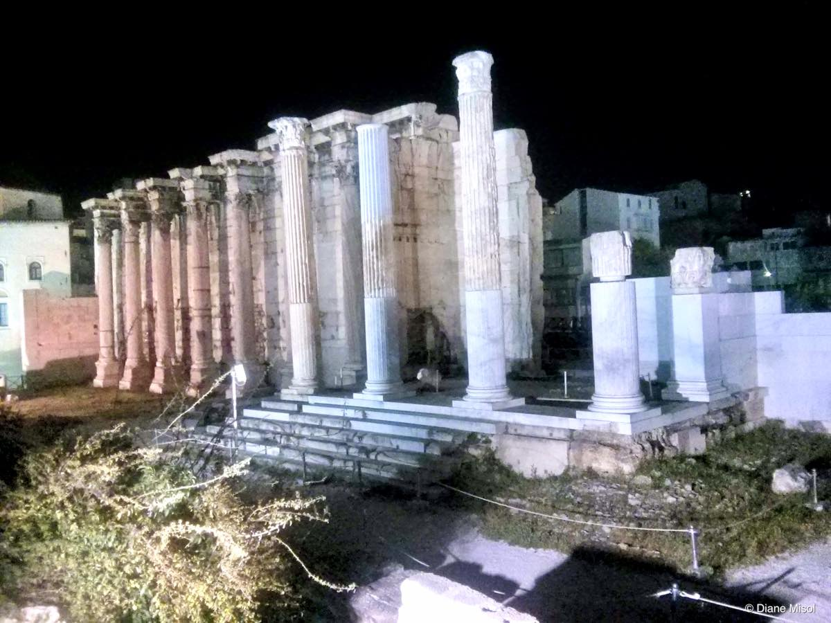 Hadrian's Library, Ruins by Night, Athens, Greece