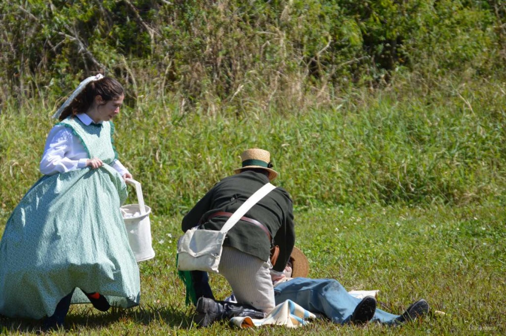 Field Nurse comes to Aid of Doctor, Battle Of Okeechobee, Florida