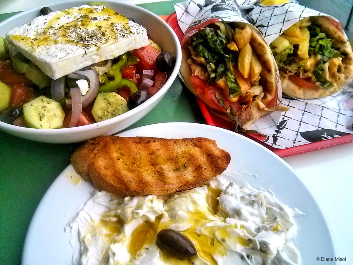 Greek Salad with Feta, Tzatziki and Gyros, Athens, Greece