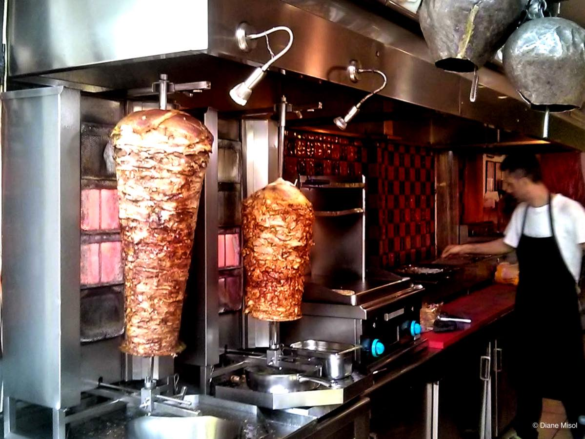Grilling Gyros Meat, Athens, Greece