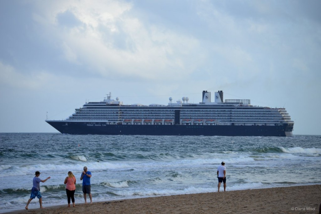 Holland America Cruiseship sails into the Atlantic Ocean, Fort Lauderdale, Florida