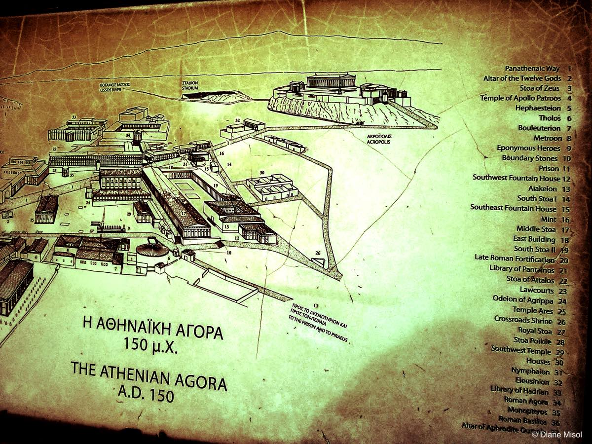 Map of Athenian Agora, Athens, Greece