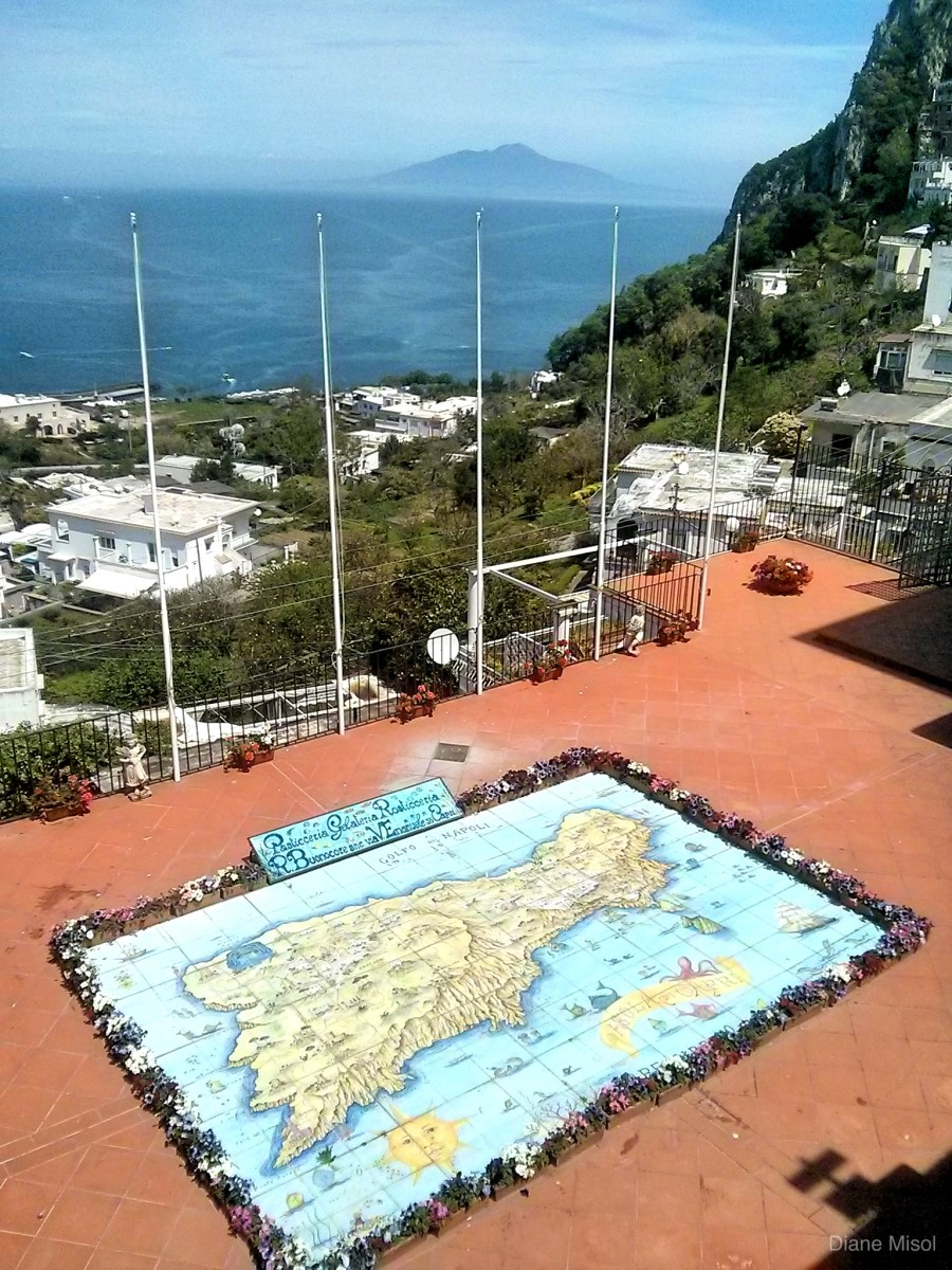 Tile Map and View of Capri, Italy