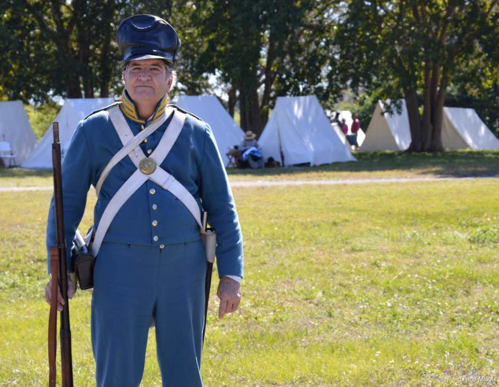Infantry Soldier Re-enactor poses, Battle Of Okeechobee