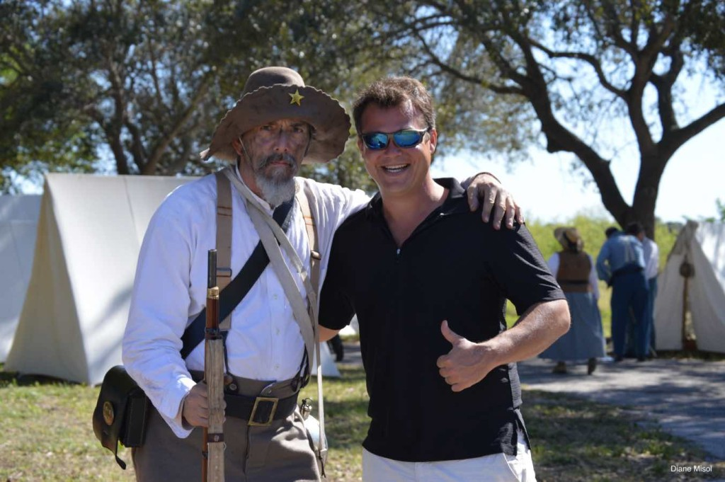 Reenactor Poses With Guest, Battle Of Okeechobee