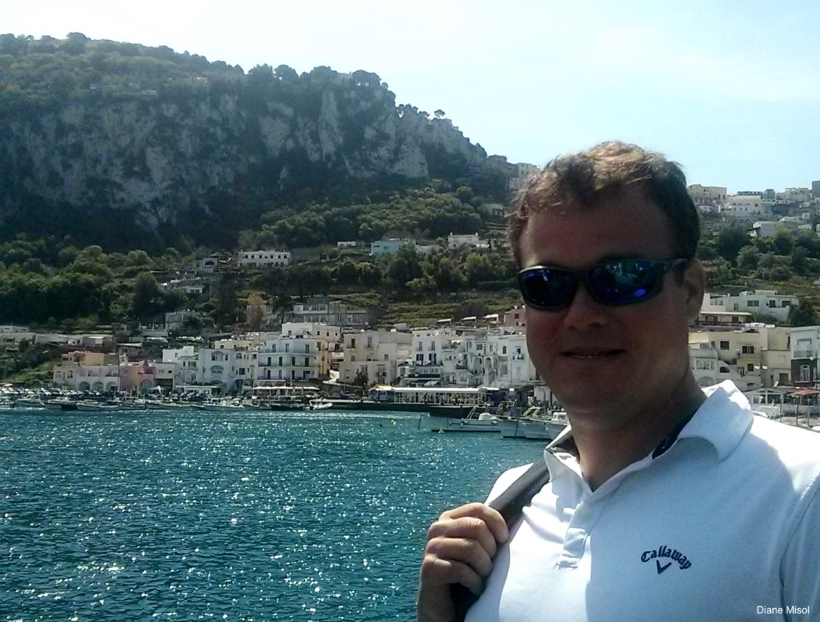 Ferry view of Capri, Italy