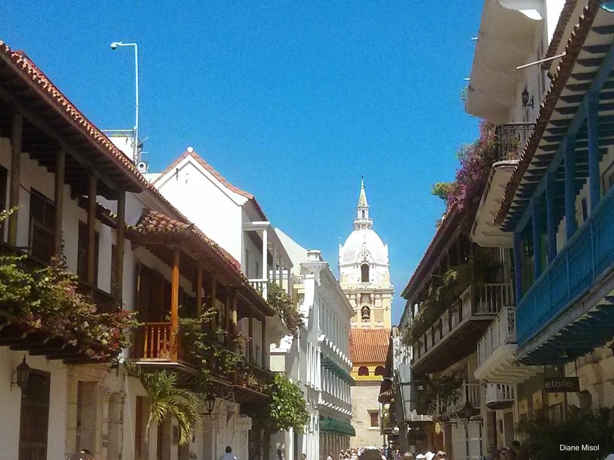 Flowers and Balconies, Side Street, Old Town Cartagena, Colombia