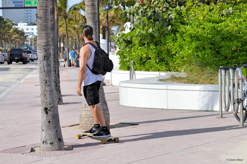 Skate Boarding on the Promenade, Fort Lauderdale Beach, Florida, USA