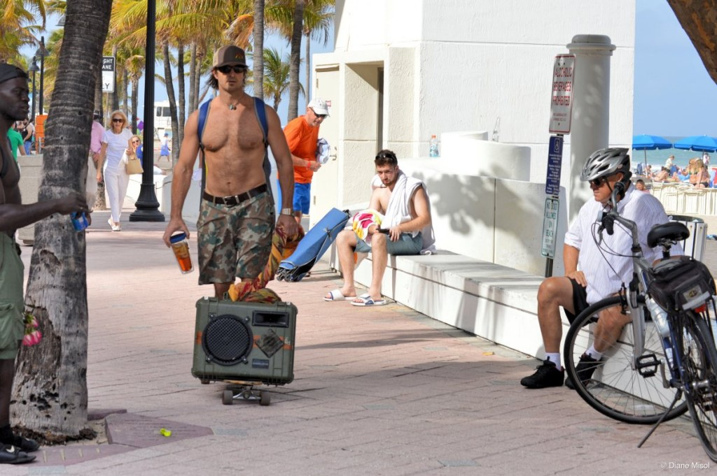 Skateboarding with Music, Fort Lauderdale Beach, FL, USA
