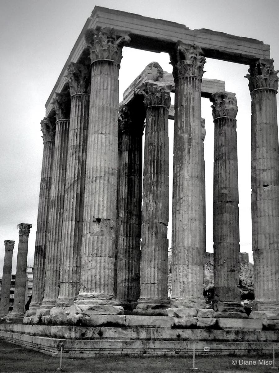 Temple Of Olympian Zeus, Athens, Greece (Black/White)