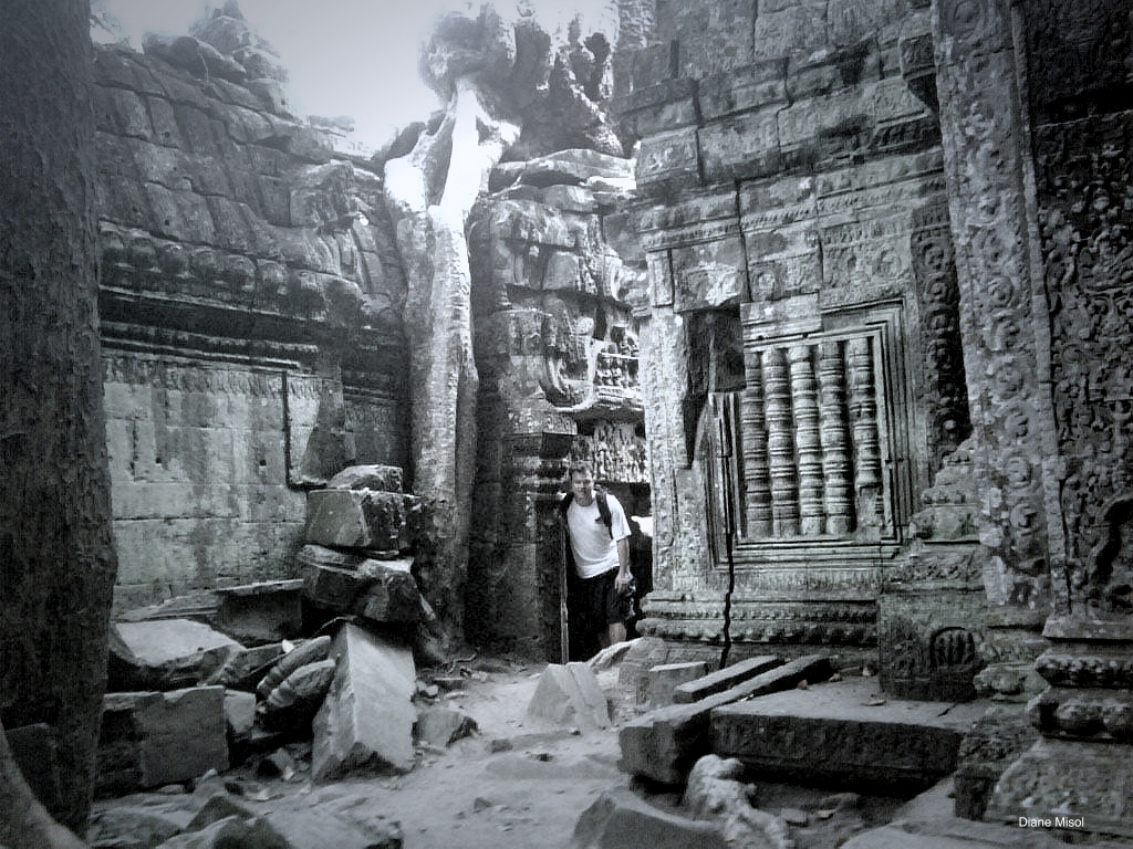Temple in Angkor Archaeological Park, Siem Reap, Cambodia (Black/White)