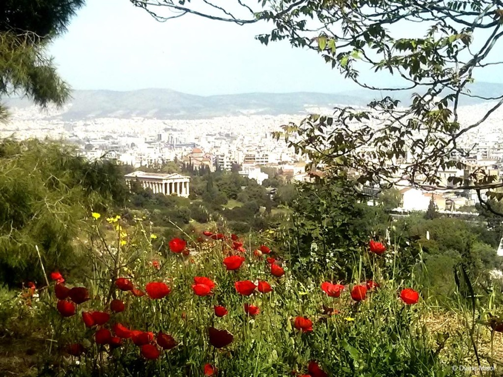 View of Ancient Agora and Modern Athens, Greece