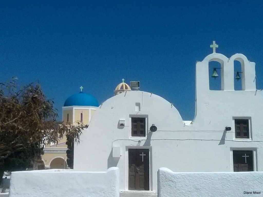 White Bell Towers, Santorini, Greece