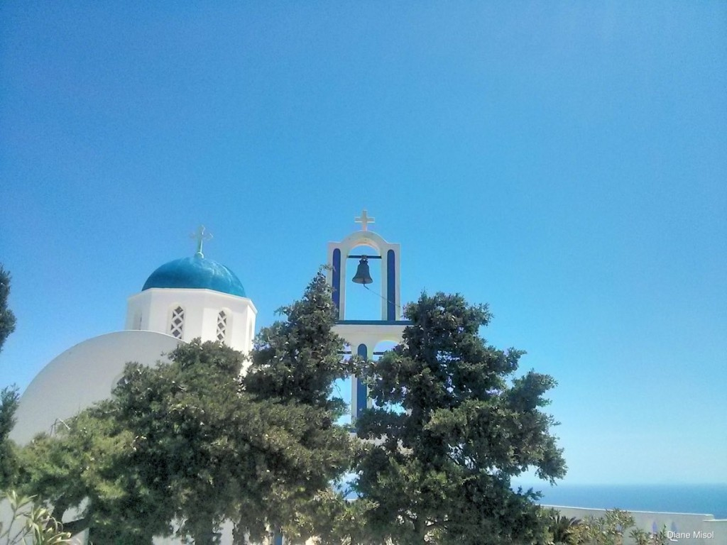 White and Blue Bell Tower, Santorini