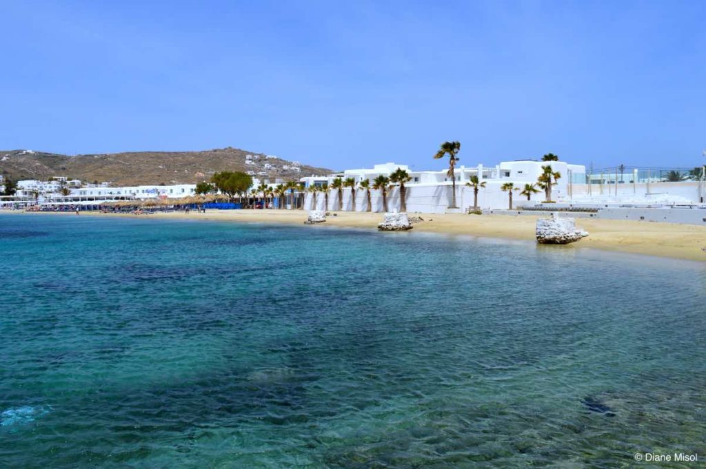 Blue Water and Stretching Beaches. Mykonos, Greece