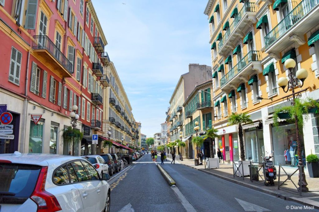 Colourful Street in Nice. French Riviera