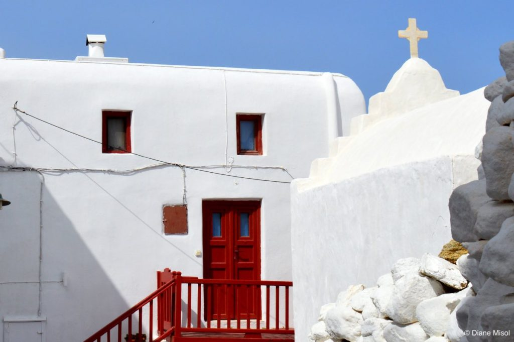 Cross against Blue. Churches of Mykonos, Greece