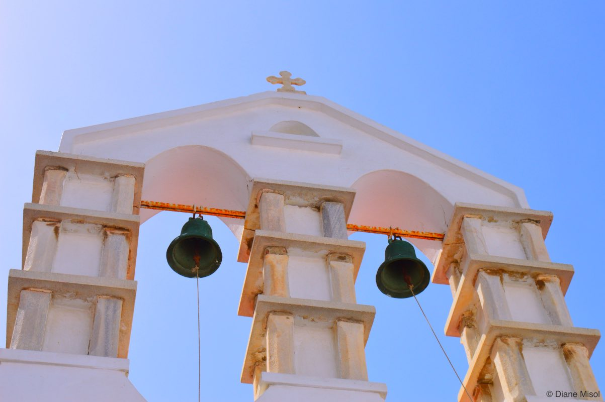 Dual Pinkish Bell Towers. Churches of Mykonos, Greece