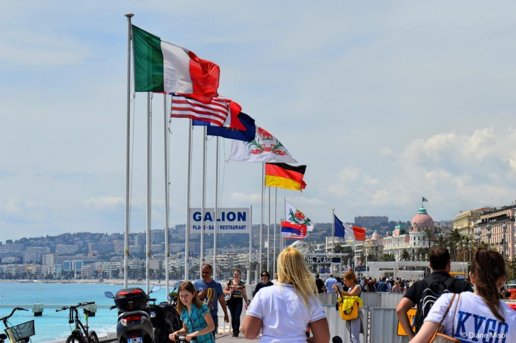 Flags on the Promenade. Nice, France