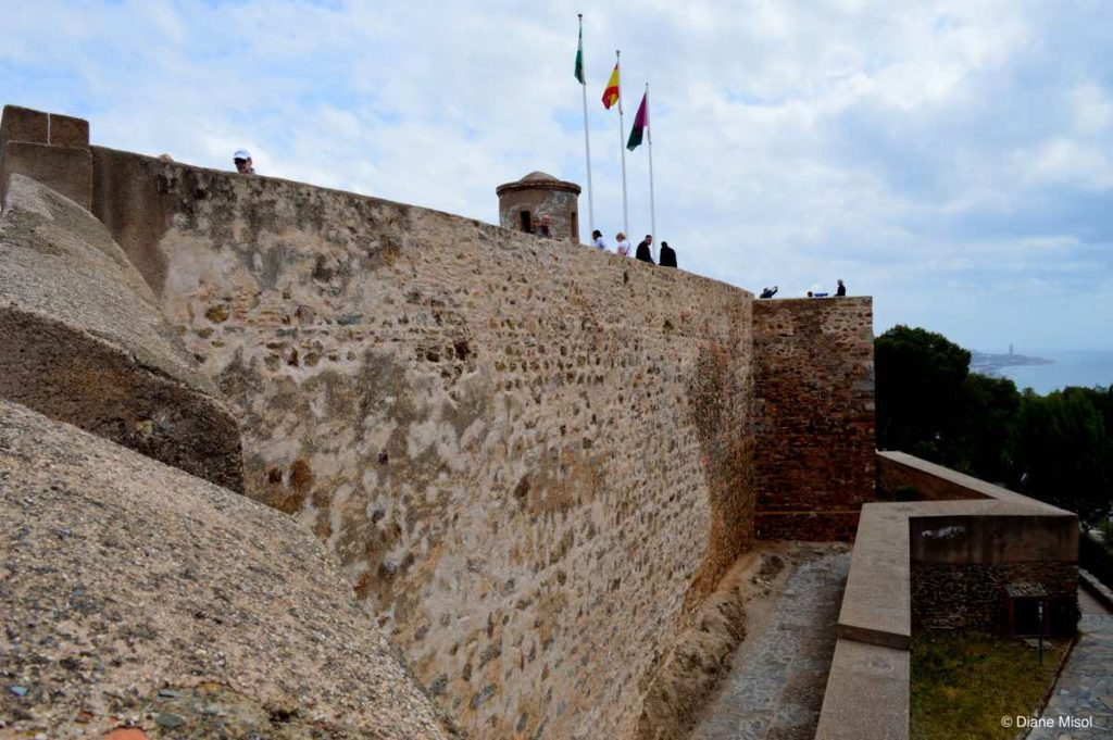 Fort Walls of Gibralfaro Castle. Malaga, Spain