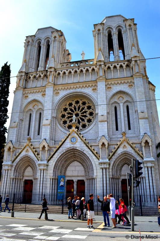 Front of the Notre Dame. Nice, French Riviera