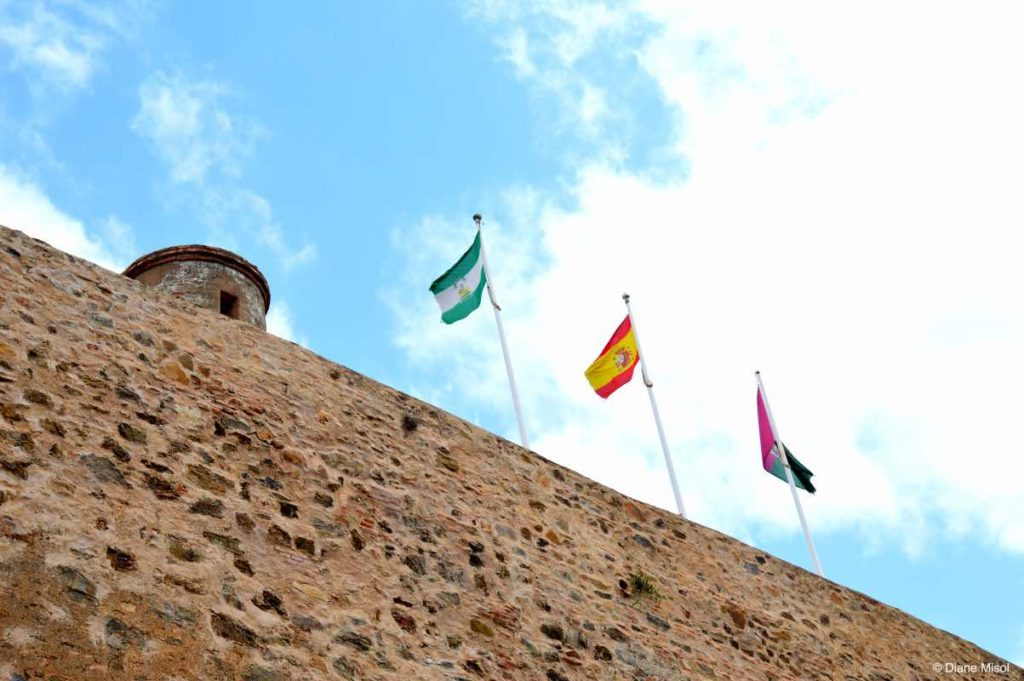 Flags of Gibralfaro Castle. Malaga, Spain