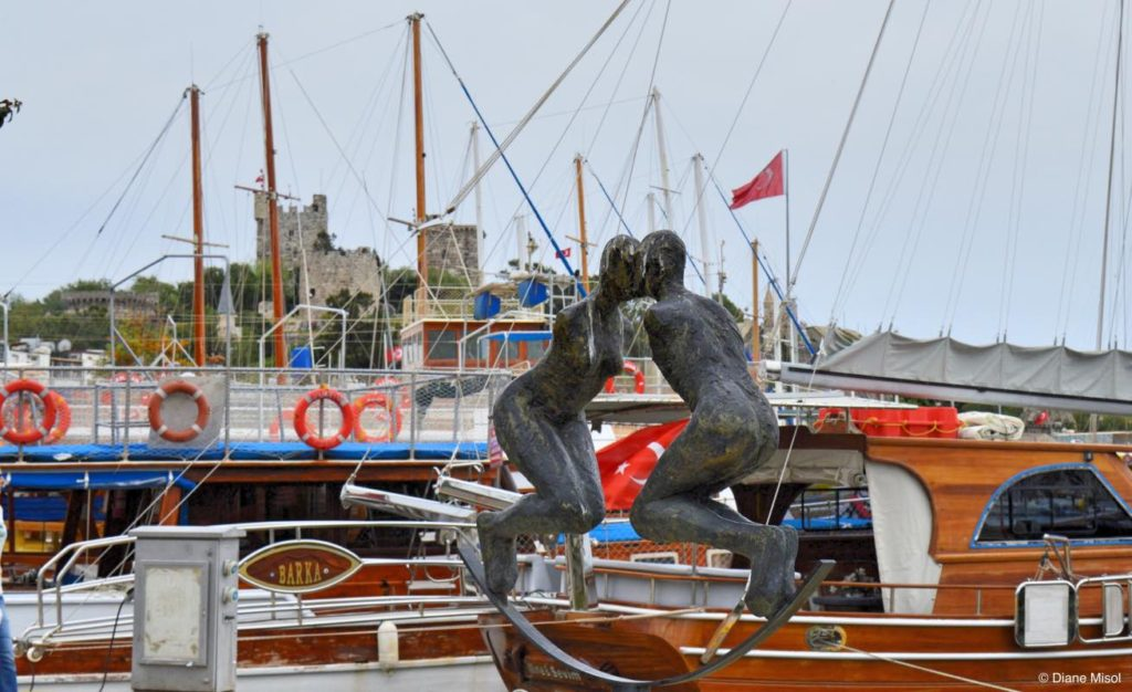 Kissing Statue in Port of Bodrum, Turkey