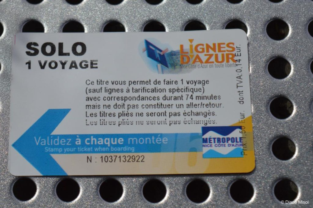 Lignes d'Azur Train Ticket. Nice, France