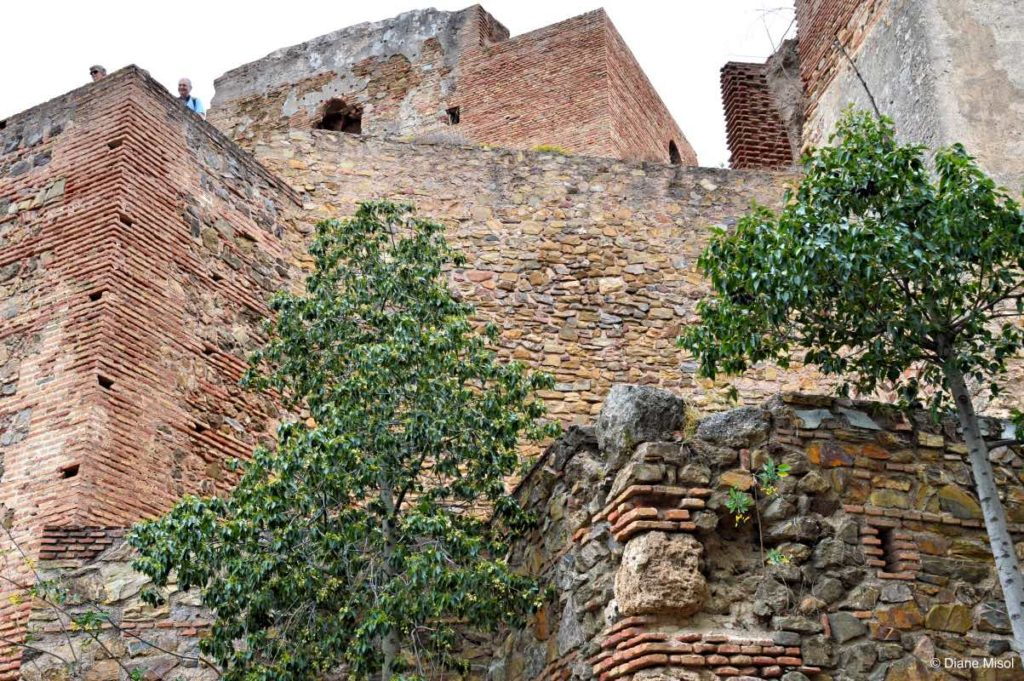 Mighty Fort Walls of the Alcazaba. Malaga, Spain