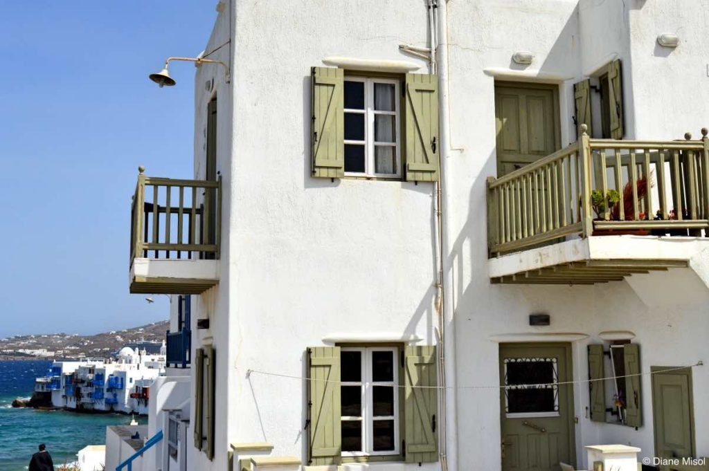 Painted Shutters and Balconies. Mykonos, Greece
