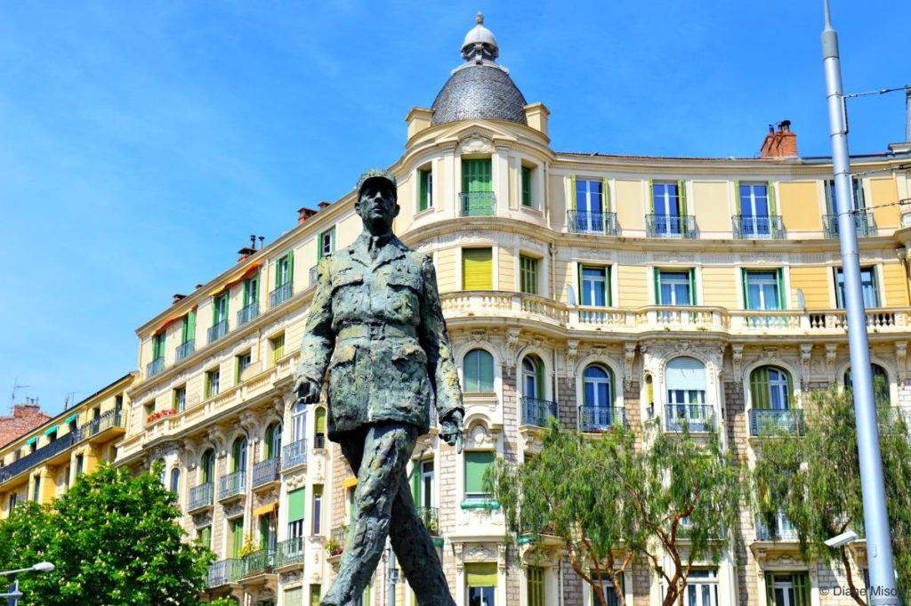 Pastel Colours and Charles de Gaulle Statue. Nice, France