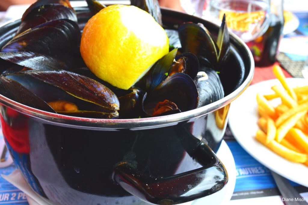 Pot of Mussels. Lunch in Nice, France