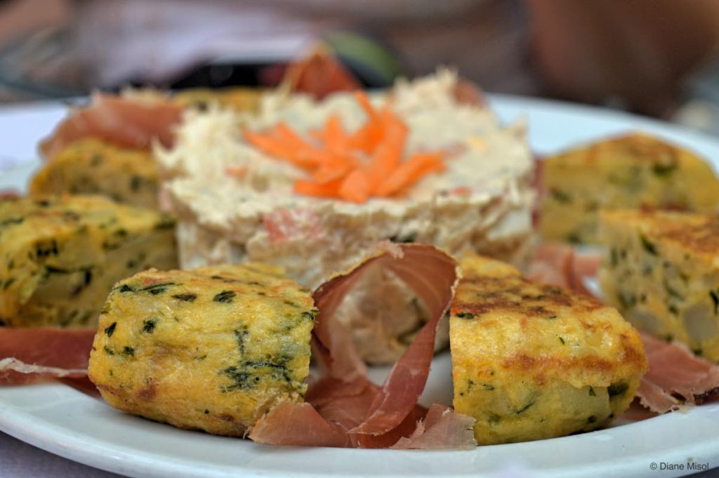 Quiche, Potato Salad and Ham. Tenerife, Spain