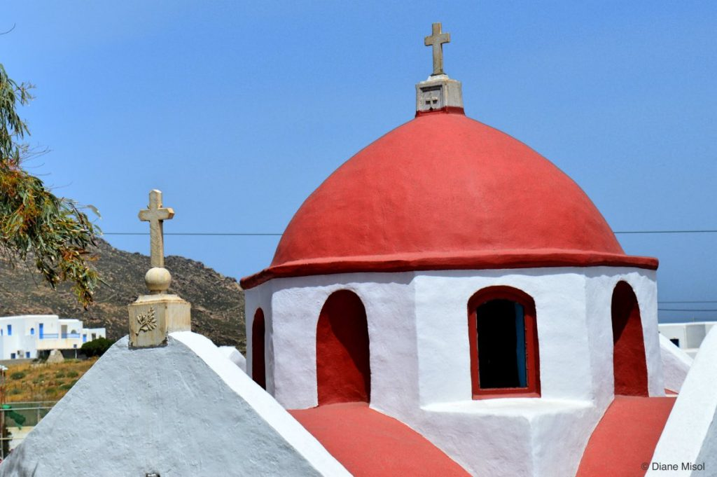 Red Domed Double Cross Church. Mykonos, Greece