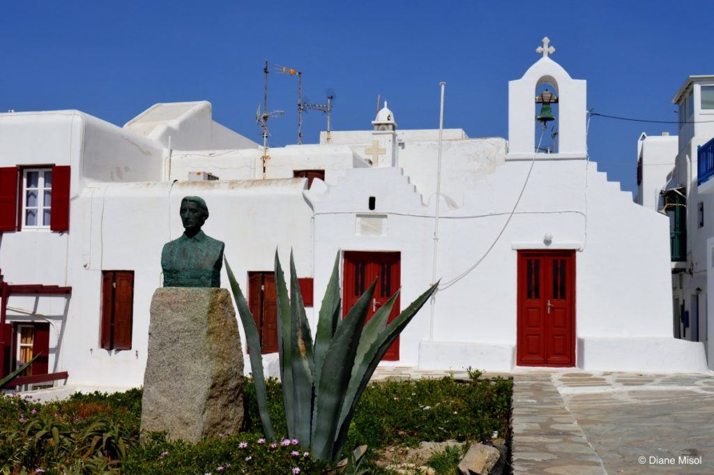 Red Door Church in Mykonos, Greece