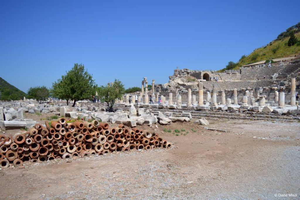 Roman Bath - Tiles and Pillars, Ancient Ruins of Ephesus