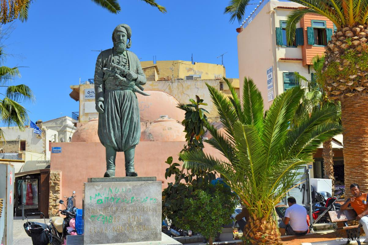 Statue Of Anaghnostis Mantakas In Old Town Chania Crete