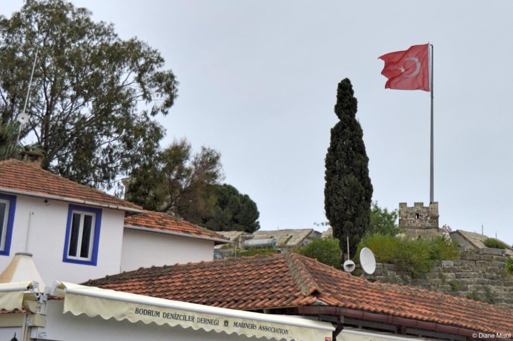 Turkish Flag Above Bodrum Castle, Turkey