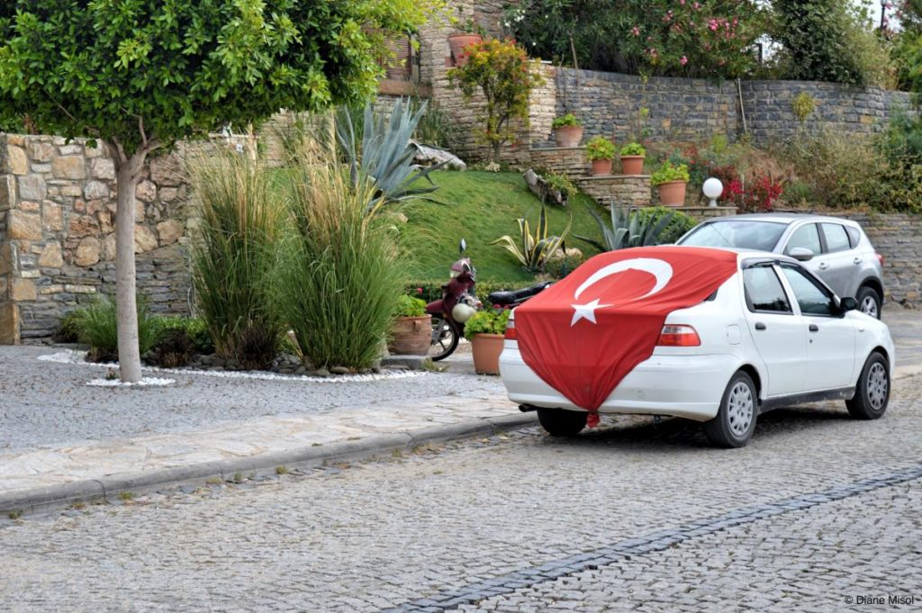 Car draped with Turkish Flag