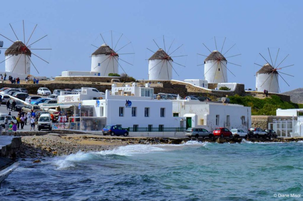 Windmills on the Waterfront. Mykonos, Greece