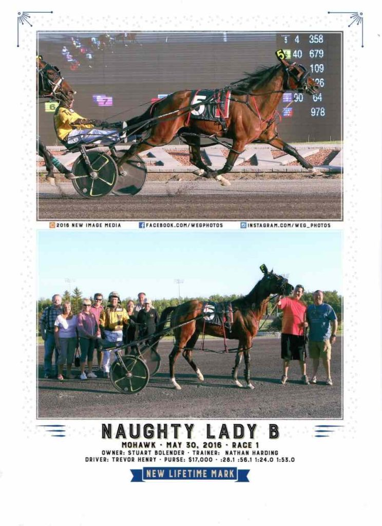 Naughty Lady B Win Photo. Mohawk Racetrack, Standardbred Racing